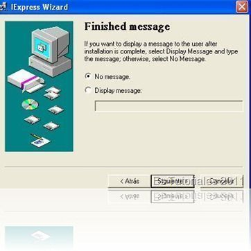 IExpress Finished message