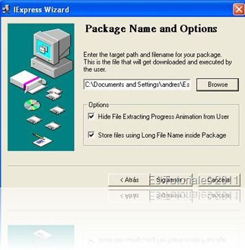 IExpress Package name and options