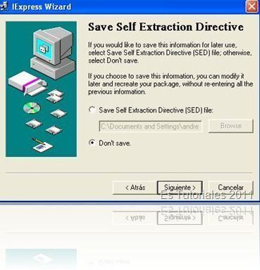 IExpress Save self extraction directive